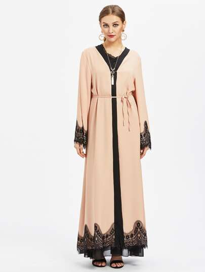 Contrast Eyelash Lace Trim Longline Abaya