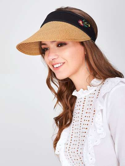 Flower Embroidery Straw Visor Hat