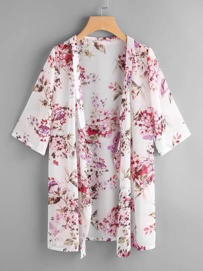 Kimono de la plage imprimé fleuri