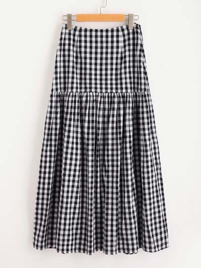 Drop Waist Gingham Skirt