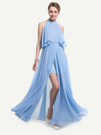 Split Front Chiffon Layered Halter Dress