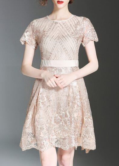 Flowers Gauze Embroidered Dress