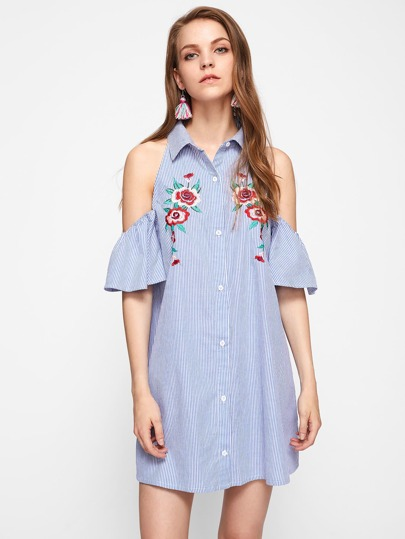 Open Shoulder Flower Embroidered Bell Sleeve Dress