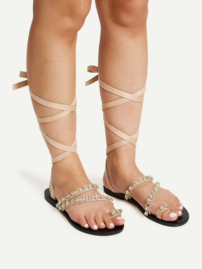 Rhinestone Detail Toe Ring Flat Sandals