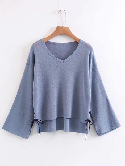 Drop Shoulder Lace Up Side High Low Sweater