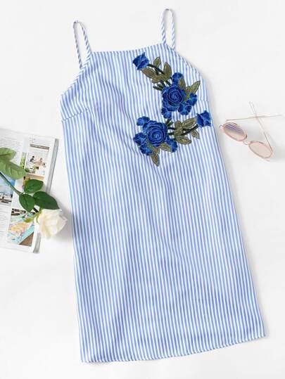3D Rose Patch Drawstring Low Back Cami Dress