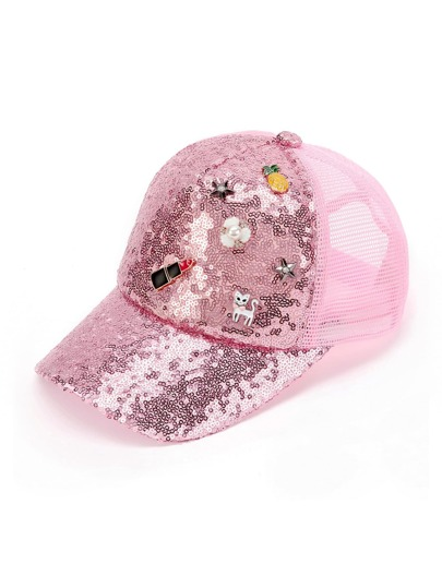 Lipstick Decor Sequin Cap
