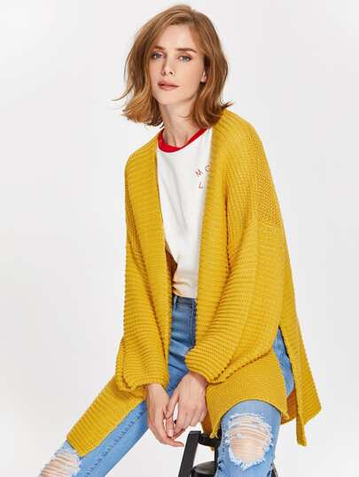 Drop Shoulder Lantern Sleeve Slit Textured Cardigan