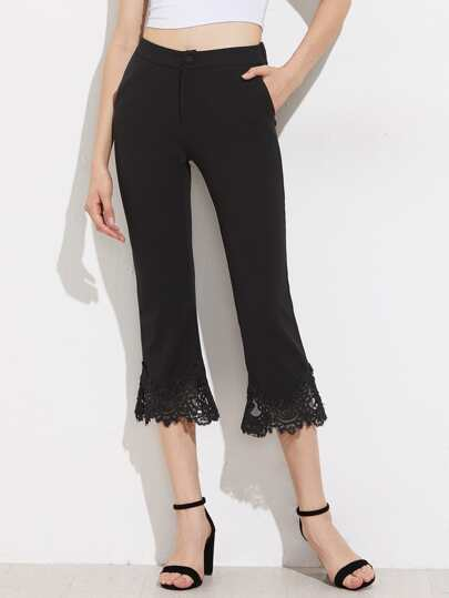 Crochet Lace Paneled Cropped Flare Pants