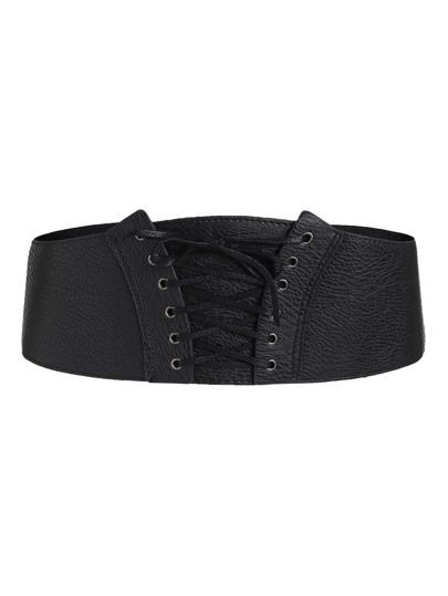Cinturón de PU con cordones de ojete