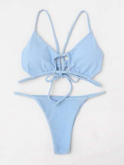 Braided Strap Tie Back Bikini Set