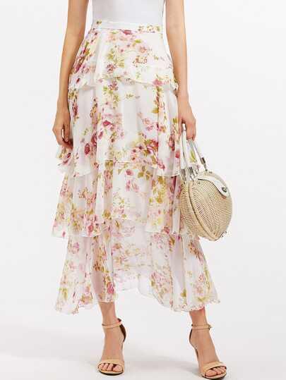 Layered Ruffle Chiffon Skirt