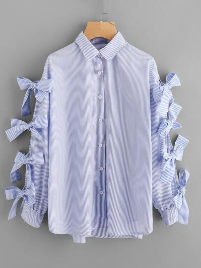 Bow Tied Sleeve Curve Hem Shirt