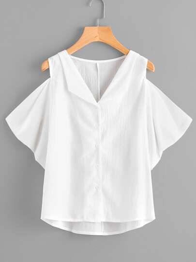 Open Shoulder Dip Hem Blouse