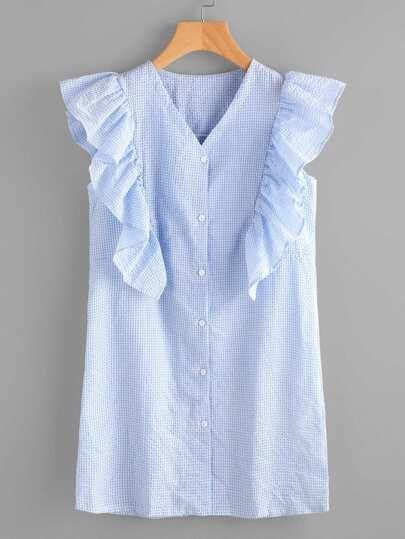 Gingham Frill Trim Shirt Dress