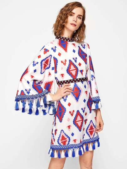 Embroidery Tape And Tassel Detail Exaggerate Sleeve Dress