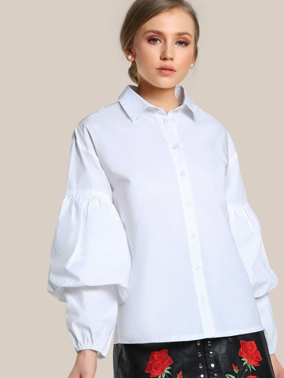 Puffed Sleeve Button Up WHITE