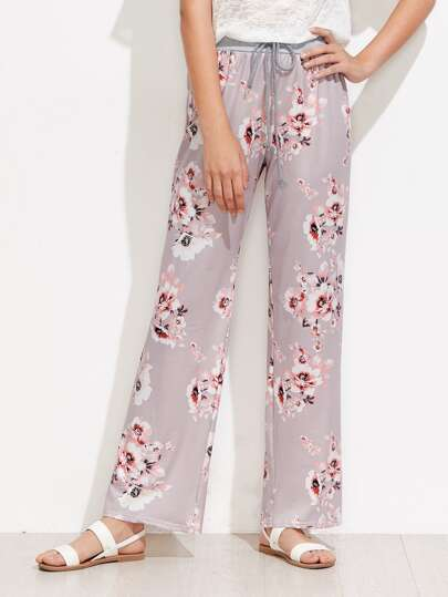 Contrast Marled Knit Waist Florals Pants