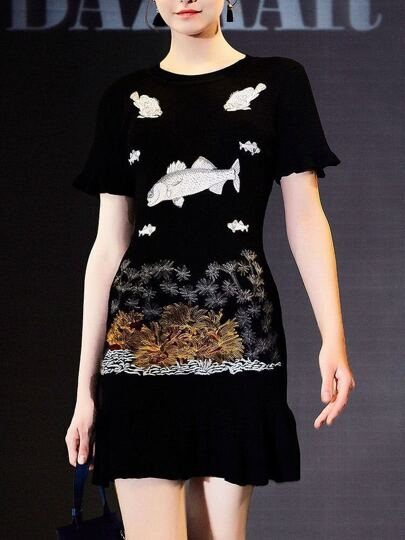 Fishes Embroidered Sheath Dress