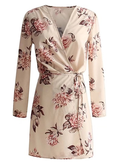 Floral Print Tie Waist Wrap Dress