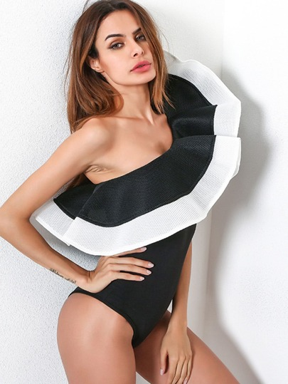 Layered Exaggerated Ruffle Trim Bodysuit