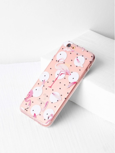 Polka Dot And Flamingo Print Clear iPhone Case