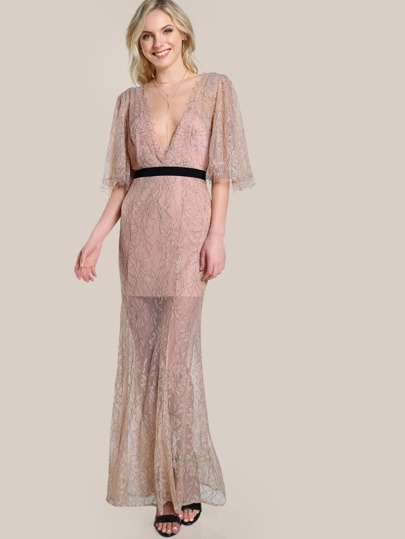 Sheer Lace Overlay Dress NUDE