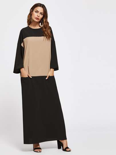 Two Tone Keyhole Back Pocket Front Kaftan Dress