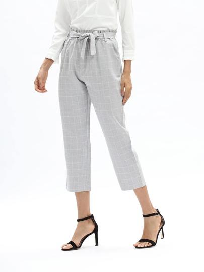 Grid Print Frill Waist Self Tie Pants