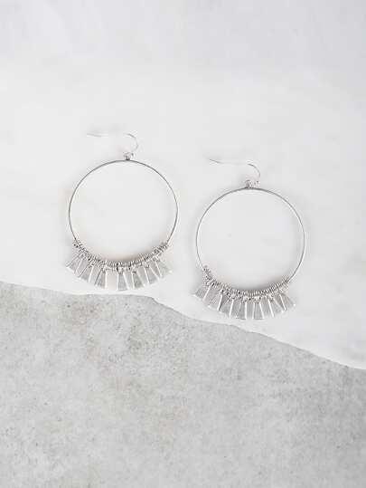 Coil Fringe Circle Earrings SILVER
