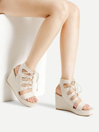 Sandales wedge découpé à lacets