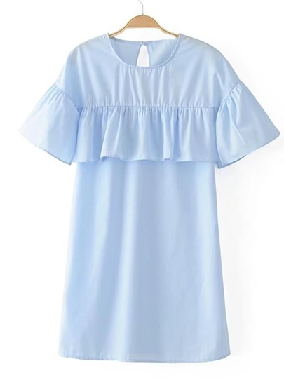 Bell Sleeve Ruffle Trim Dress
