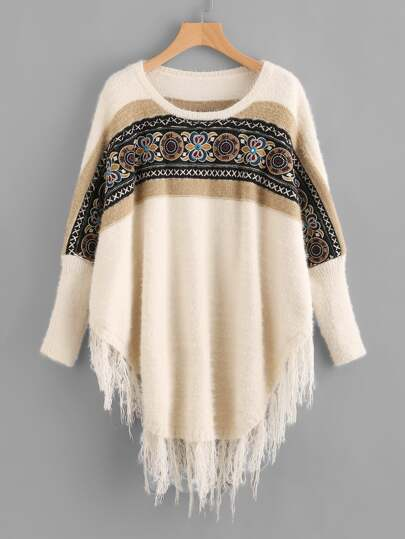 Fringe Trim Curved Hem Embroidered Dolman Jumper