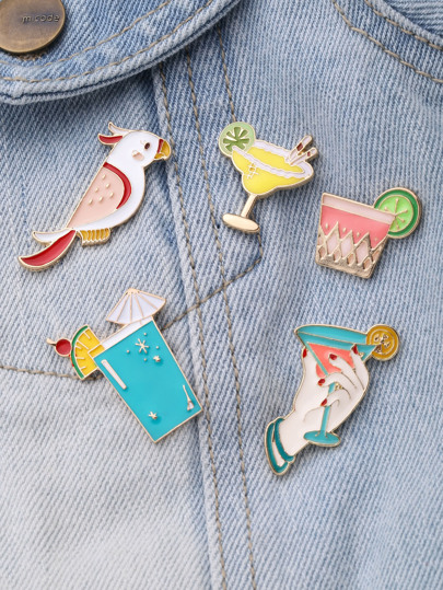 Bird & Cup Design Brooch Set