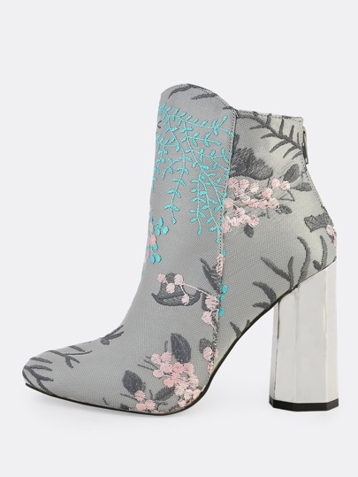 Embroidered Metallic Chunky Booties GREY