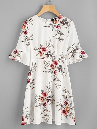 Fluted Sleeve Botanical Dress