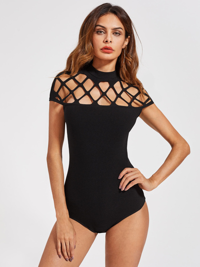 Mock Neck Square Cutout Bodysuit