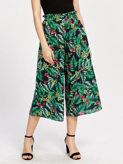 Jungle Print Culotte Pants