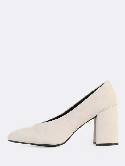 Suede V Cut Pumps STONE