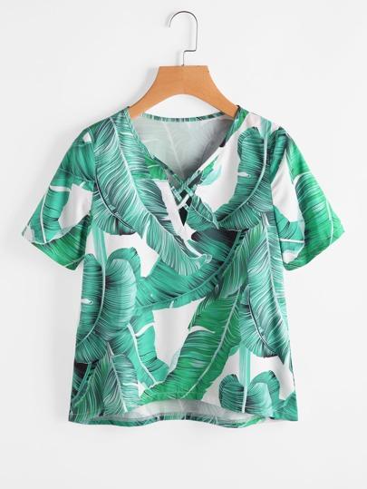 Banana Leaf Print Crisscross V Neckline Blouse