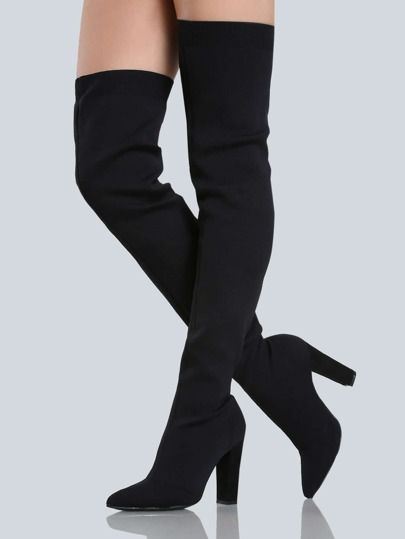 Closed Toe Stretch Knit Thigh Highs BLACK