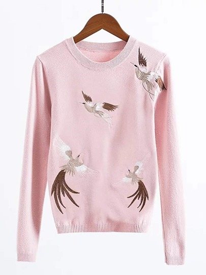 Cranes Embroidery Ribbed Trim Knitwear