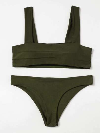 Bikini Set mit doppelten weiten Riemen