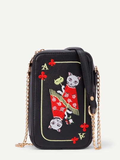Cat Embroidery PU Cross Body Bag