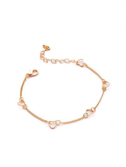 Bracelet de chaîne design de cœur métallique