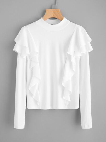 Geripptes t-Shirt mit schößchem Saum