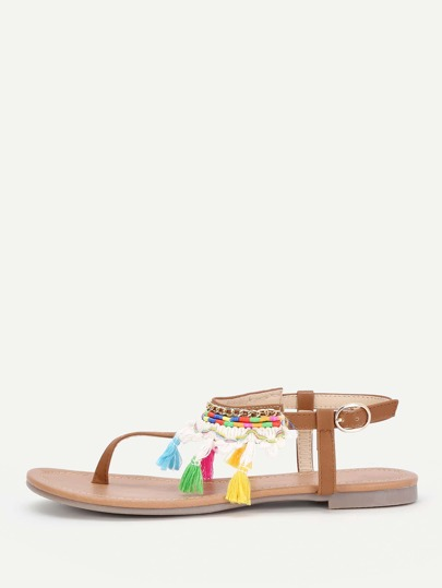 Tassel Detail Toe Post Sandals
