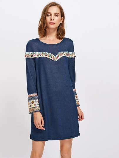 Beading Embroidered Tape Embellished Dress