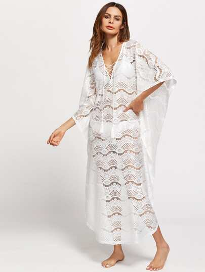 Tasseled Lace Up Lace Poncho Dress