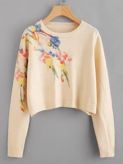 Maglione con stampa di fiore
